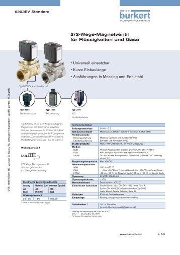 2/2-Wege-Magnetventil für Flüssigkeiten und Gase