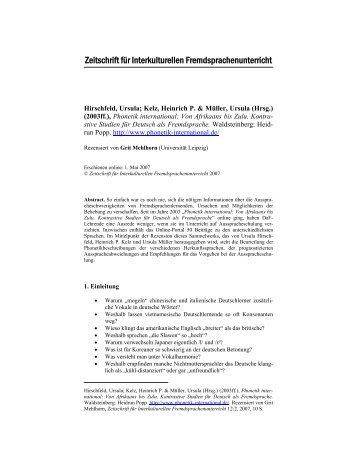Phonetik international: Von Afrikaans bis Zulu - Zeitschrift für ...