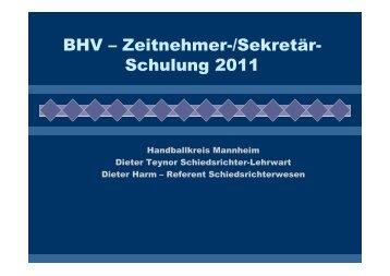 Zeitnehmer und Sekretär - Handballkreis Mannheim