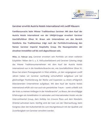 Gerstner erwirbt Austria Hotels International mit zwölf Häusern