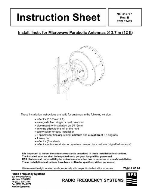 Installation Instructions for Microwave Parabolic Antennas