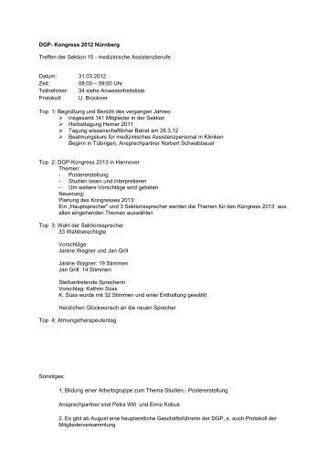 Protokoll Sektionstreffen 31.03.2012 in Nürnberg