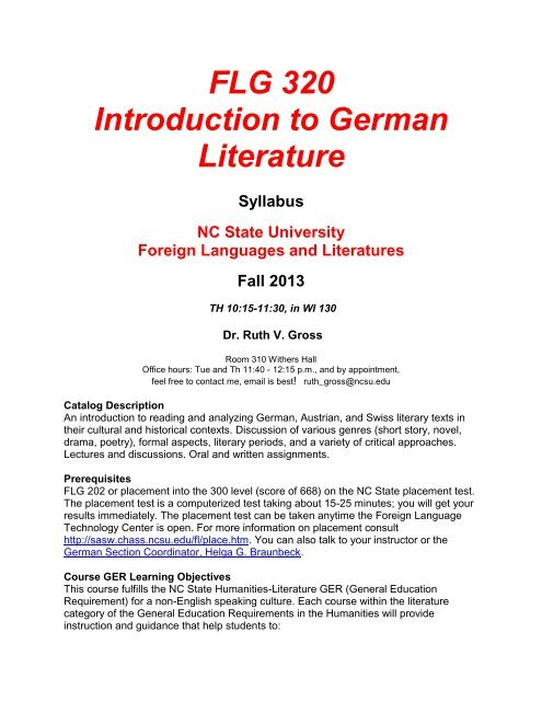 Flg 320 Introduction To German Literature Department Of