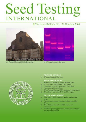 (ISTA News Bulletin) No. 136, October 2008 - International Seed ...