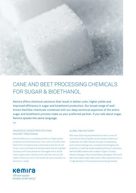 Cane and Beet Processing Chemicals for Sugar & Bioethanol - Kemira