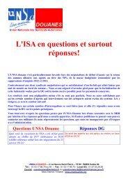 L'ISA en questions et surtout réponses! - UNSA Douanes