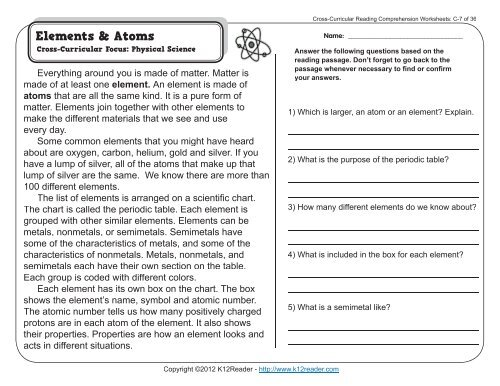 Cross-Curricular Reading Comprehension Worksheets: C-7 Of 36