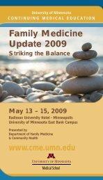 Family Medicine Update 2009 - University of Minnesota Continuing ...