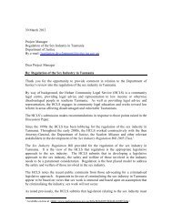 Hobart Community Legal Service - Tasmanian Department of Justice