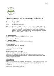 Minnesanteckningar från möte med LAMK:s arbetsutskott. - SLU