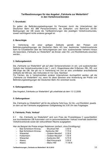 """Tarifbestimmungen """"Fahrkarte zur Weiterfahrt"""" - VRN ..."""