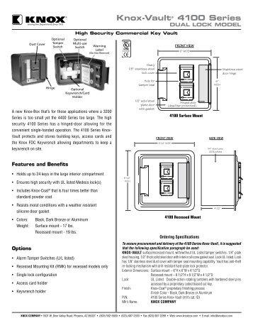 4100 Series Dual Lock Spec Sheet - Knox Box