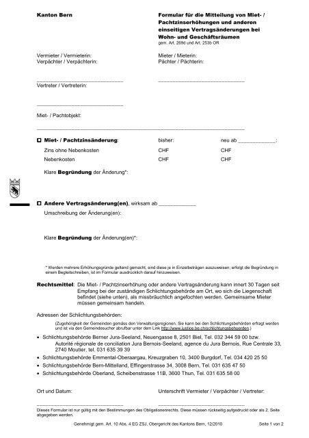 formular kundigung mietvertrag bern