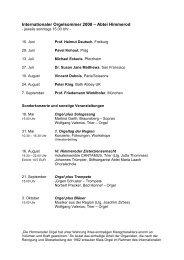 Programm 2007 und Infos zur Orgelrevision - Klais Orgel, Abtei ...