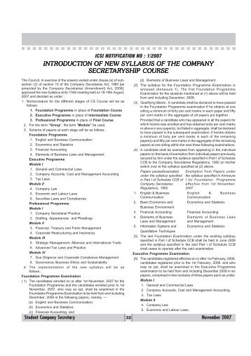 INTRODUCTION OF NEW SYLLABUS OF THE ... - Management