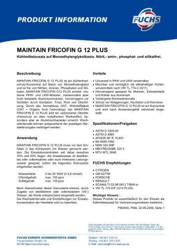 MAINTAIN FRICOFIN G 12 PLUS - Korb Schmierstoffe