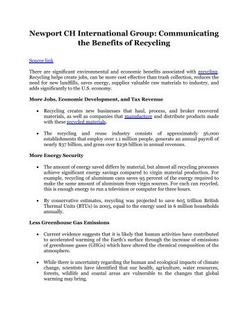 Newport CH International Group: Communicating the Benefits of Recycling
