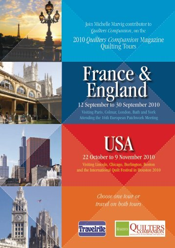 2010 Quilters Companion Magazine Quilting Tours - Travelrite ...