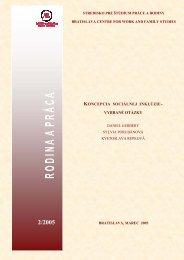 koncepcia sociálnej inklúzie - Inštitút pre výskum práce a rodiny