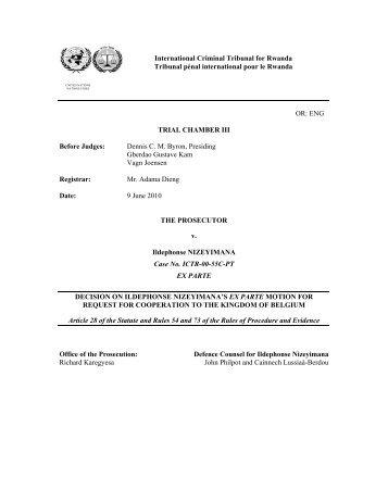 DECISION ON ILDEPHONSE NIZEYIMANA'S EX PARTE MOTION ...
