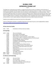 Global Core List of Approved Courses - Columbia College