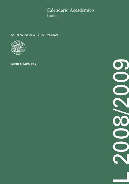 Politecnico Milano Calendario.Calendario Accademico Politecnico Di Milano
