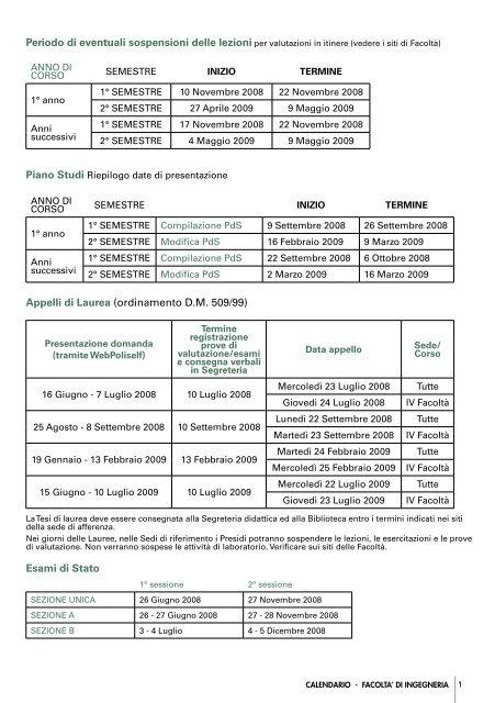 Calendario Appelli Polimi.Calendario Della Facolta