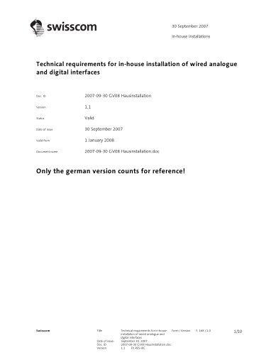 Technical requirements - Swisscom