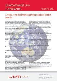 Environmental Law E-newsletter - Lavan Legal