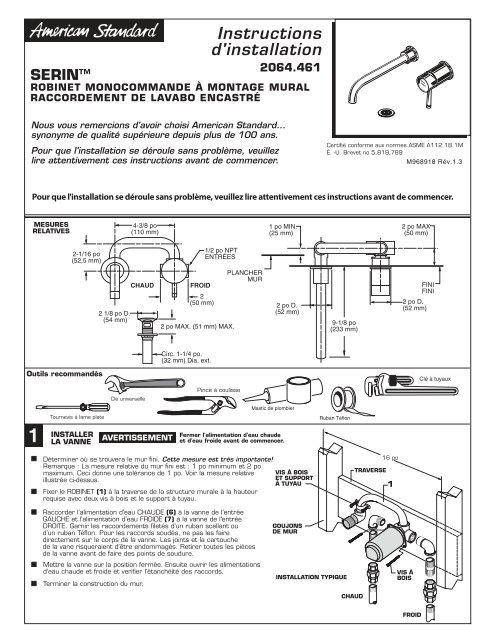 Instructions Dinstallation American Standard Prosite