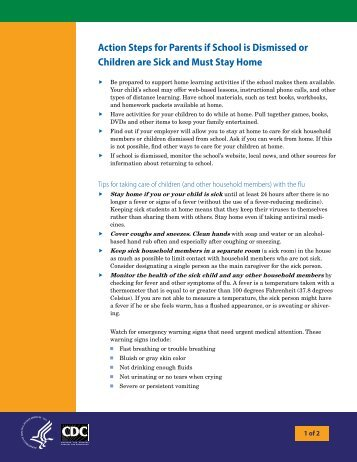 Action Steps for Parents if School is Dismissed or Children are Sick ...
