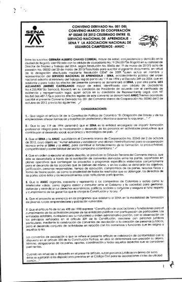 CONVENIO DERIVADO No. 001 DEL CONVENIO MARCO ... - Sena