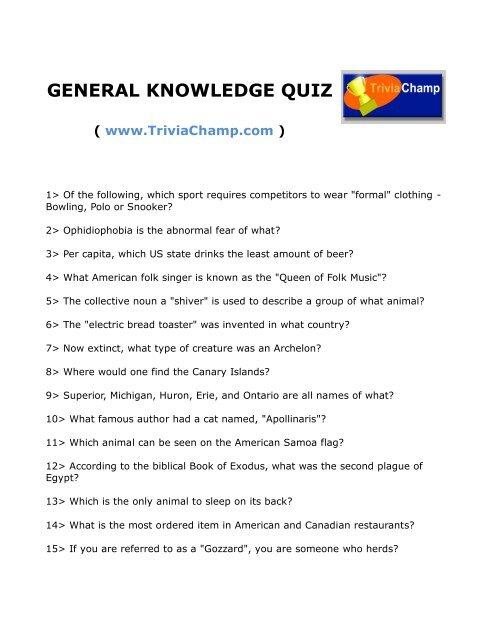 GENERAL KNOWLEDGE QUIZ - Trivia Champ