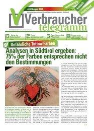 Juli/August 2013 - Verbraucherzentrale Südtirol