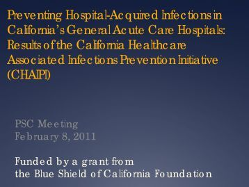 Preventing Hospital-Acquired Infections in California's General ...