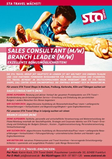 SAleS conSultAnt (M/w) brAnch leADer (M/w) - STA Travel