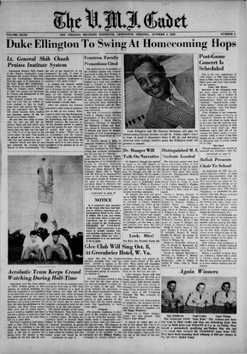 The Cadet. VMI Newspaper. October 01, 1956 - New Page 1 [www2 ...