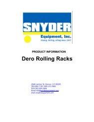 Dero Rolling Racks - Snyder Equipment, Inc.