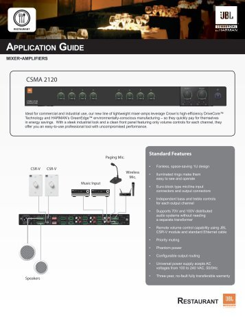 APPLICATION GUIDE - JBL Commercial Products