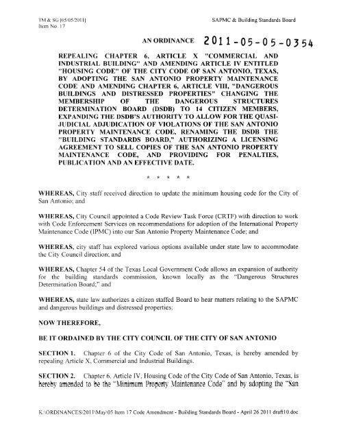 SAPMC Ordinance (Adobe PDF) - The City of San Antonio