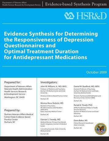 Evidence Synthesis for Determining the Responsiveness ... - HSR&D
