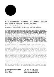 Die schwarze Spinne. Pilatus' Traum - Schauspielhaus Zürich