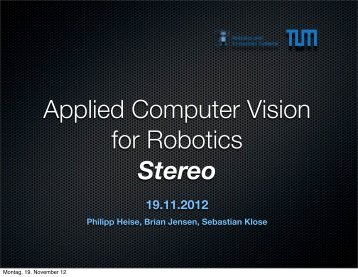 Applied Computer Vision for Robotics Stereo