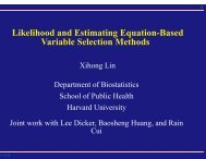 Likelihood and Estimating Equation-Based Variable ... - SAMSI