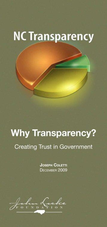 Why Transparency? - John Locke Foundation