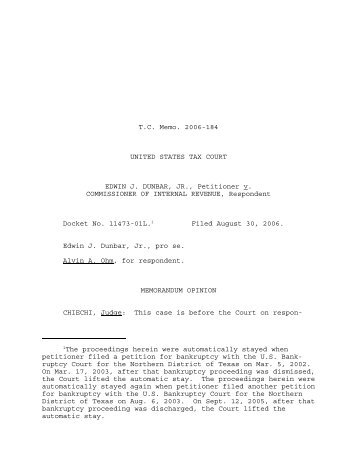 TC Memo. 2006-184 - U.S. Tax Court