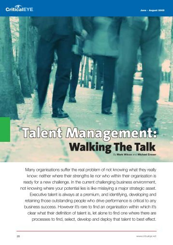 Walking the Talk Talent Management. - Change Capability