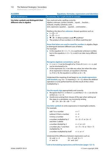 ALGEBRA Equations, formulae, expressions and ... - Suffolk Maths