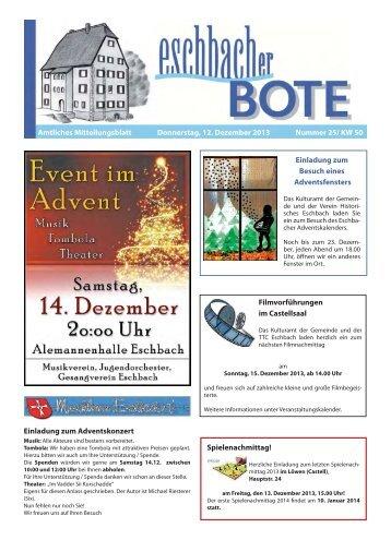 Einladung zum jährlichen Ausflug Eschbach