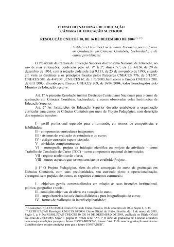 Resolução CNE/CES nº 10, de 16 de dezembro de 2004